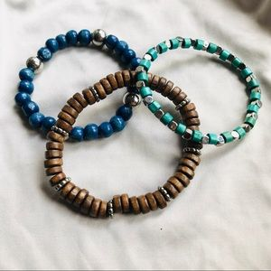 Jewelry - Cute wood and metal bracelets. 3 pack!